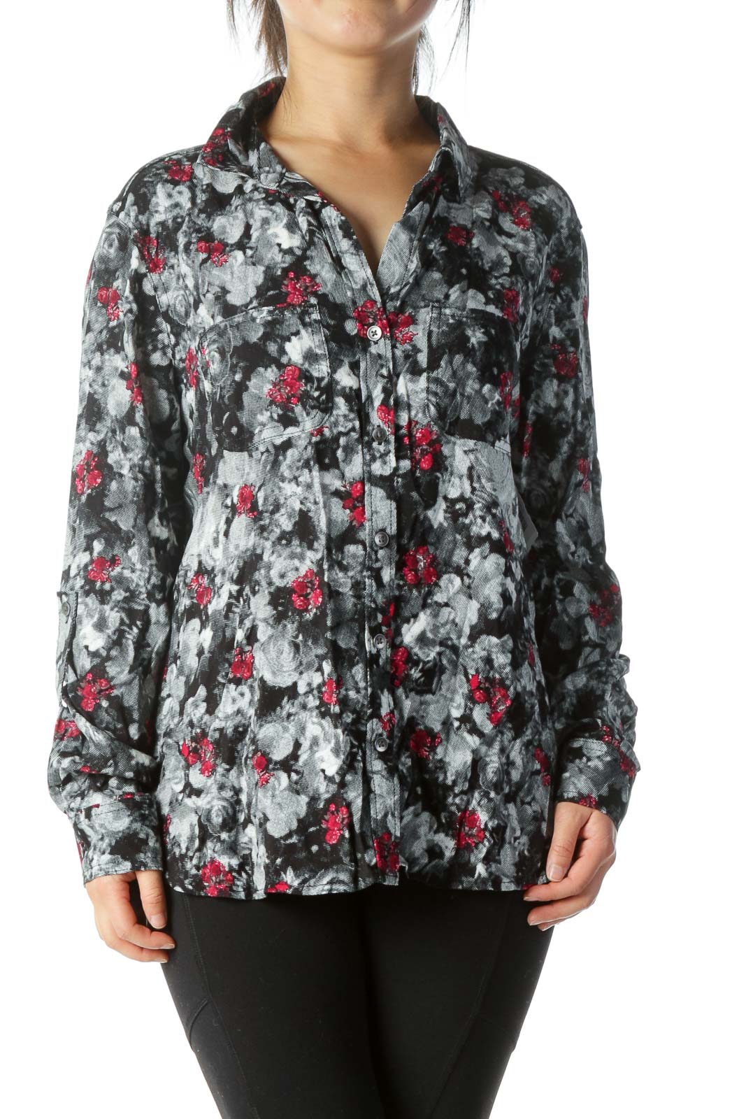 Black Printed Buttoned Blouse