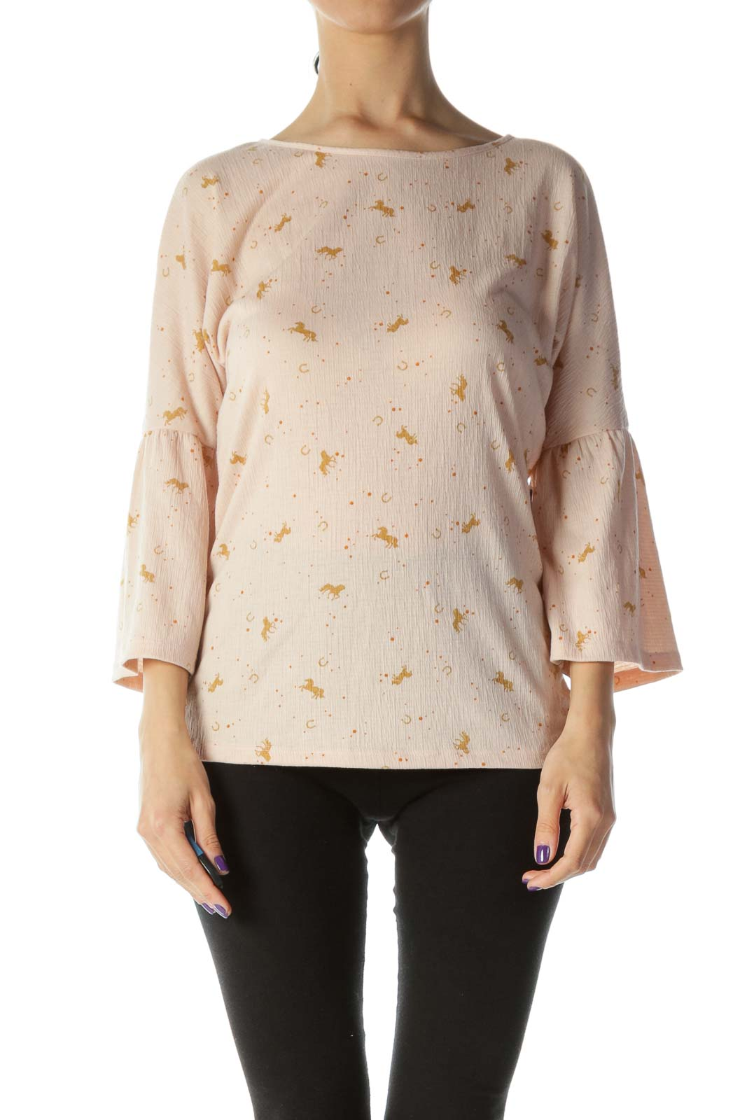 Pink Horse Print Bell Sleeve Top