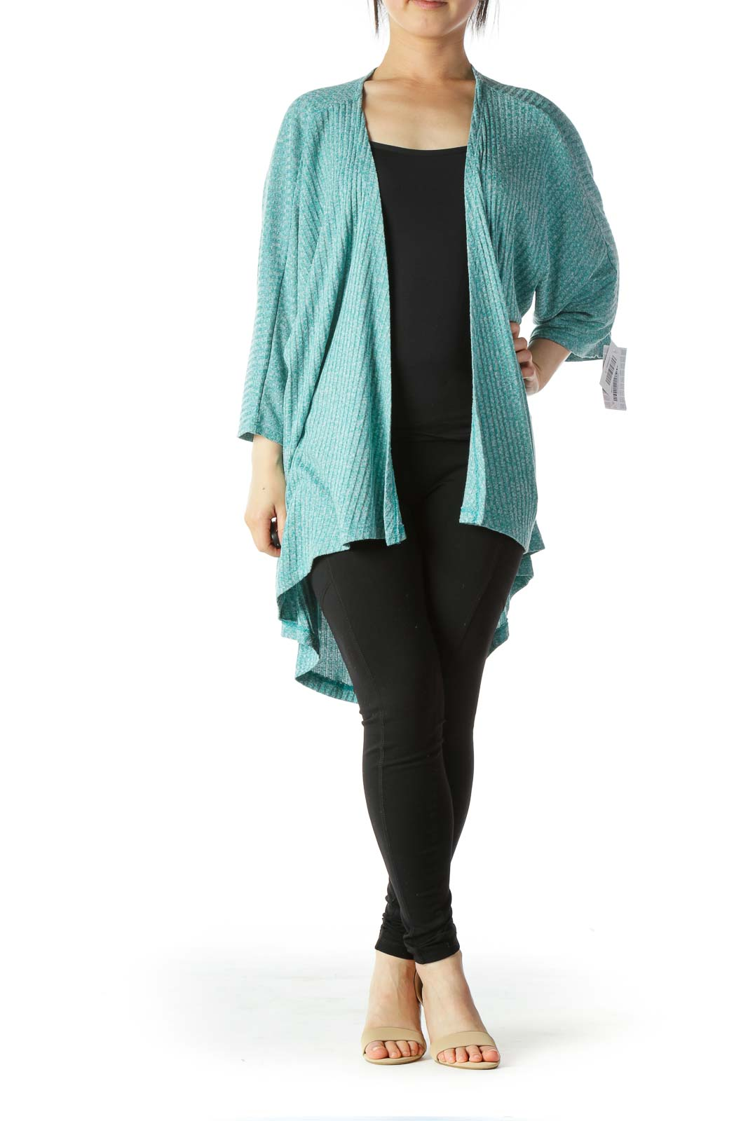 Blue Gray Short-Sleeve Stretch Knit Cardigan