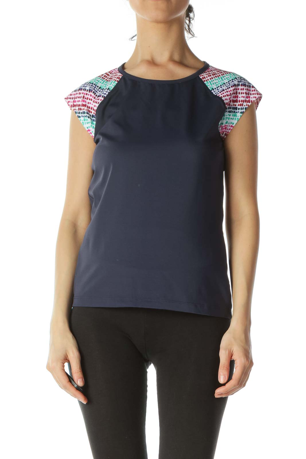 Blue Body Multicolored-Print-Sleeves Activewear Top