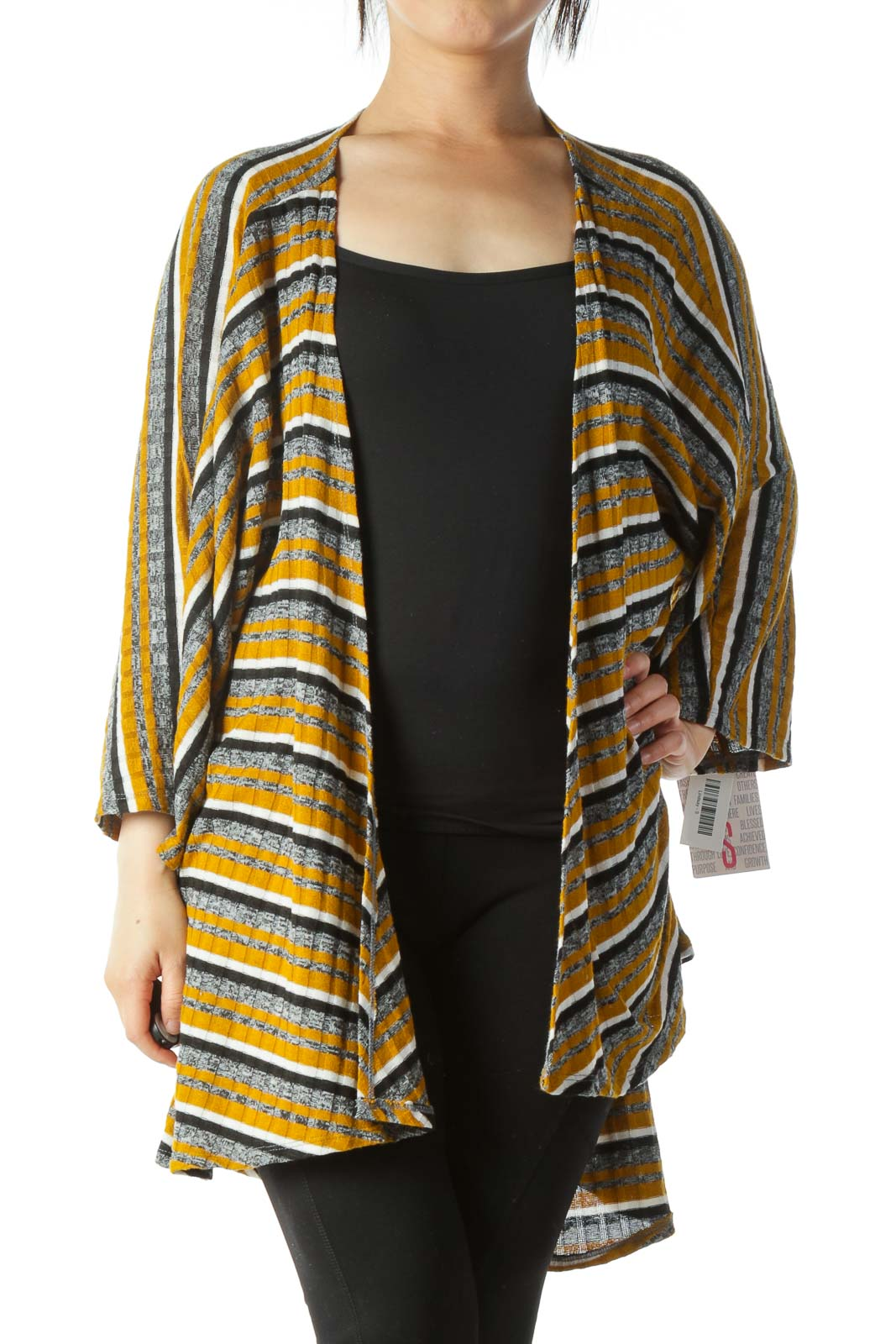 Yellow White Black Striped Short Sleeve Knit Cardigan
