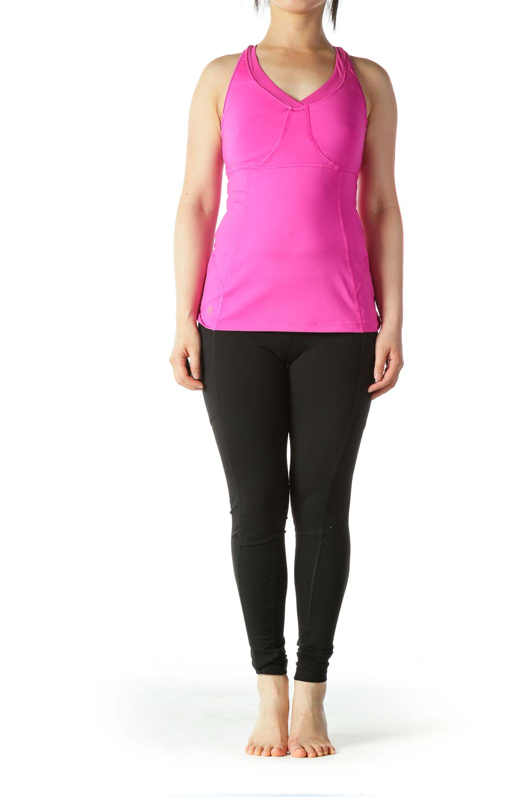 Magenta-Pink Mesh-Detail Sports Tank with Built-In Bra