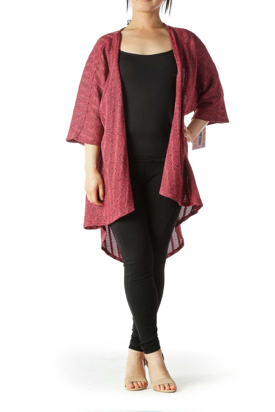Red Black Short Sleeve Mix Knit Light Cardigan