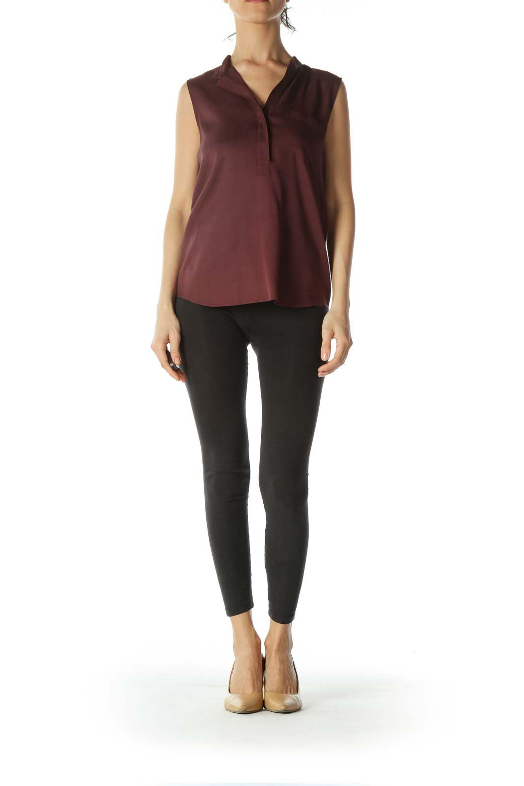Burgundy V-Neck Pocketed Stretch Tank