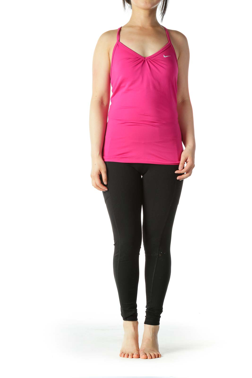 Hot-Pink Racerback Sports Top with Built-In Bra