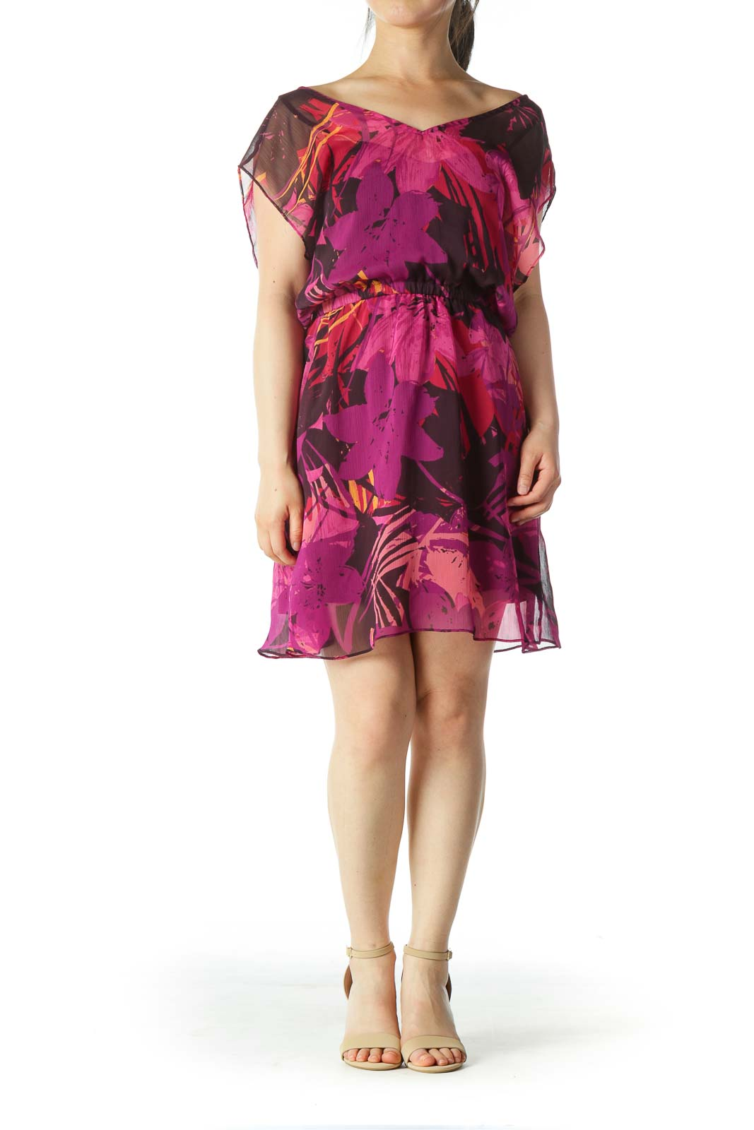 Multicolor Floral-Print Cinched-Waist Day Dress
