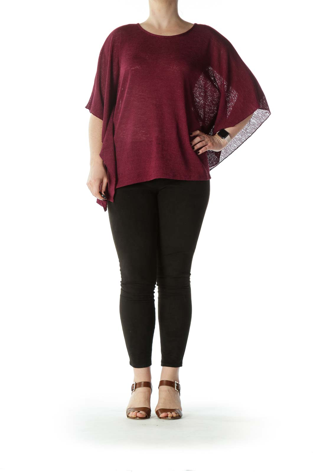 Burgundy Flared-Sleeves See-Through-Knit Top