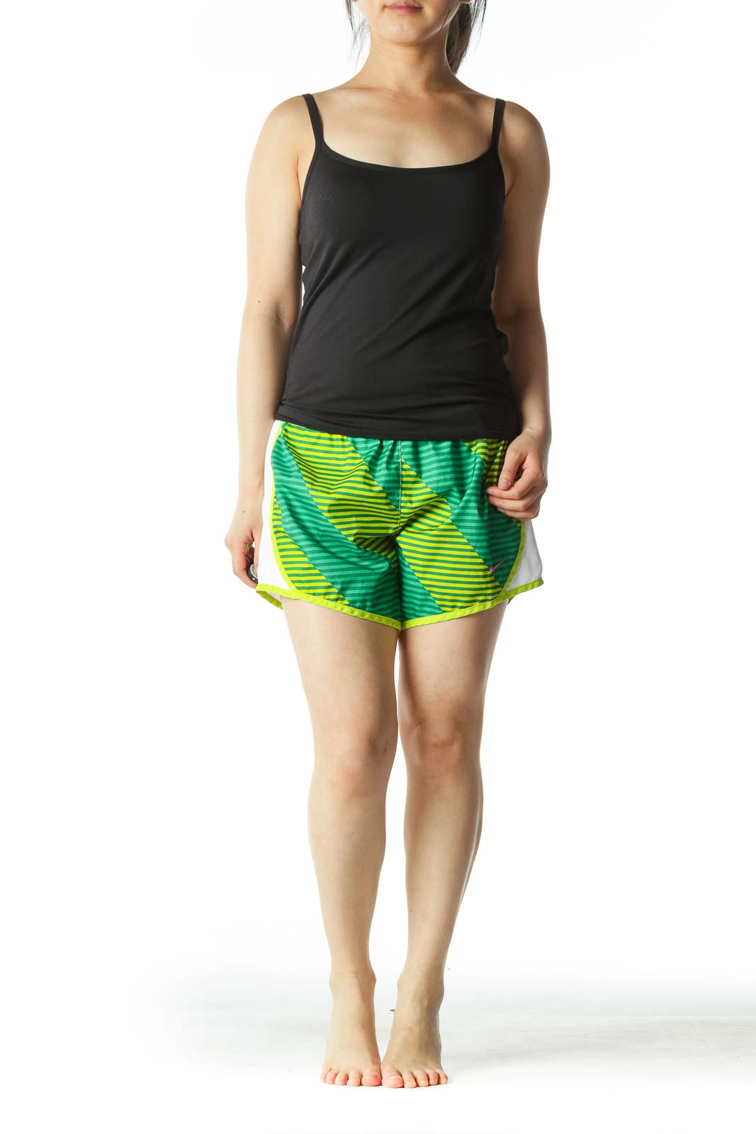 Green and Yellow Striped Sport Shorts