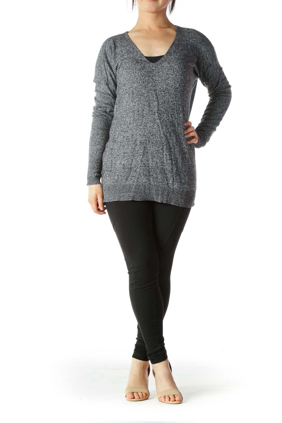 Gray Wool-Blend Mottled V-Neck Slim-Sleeves Sweater