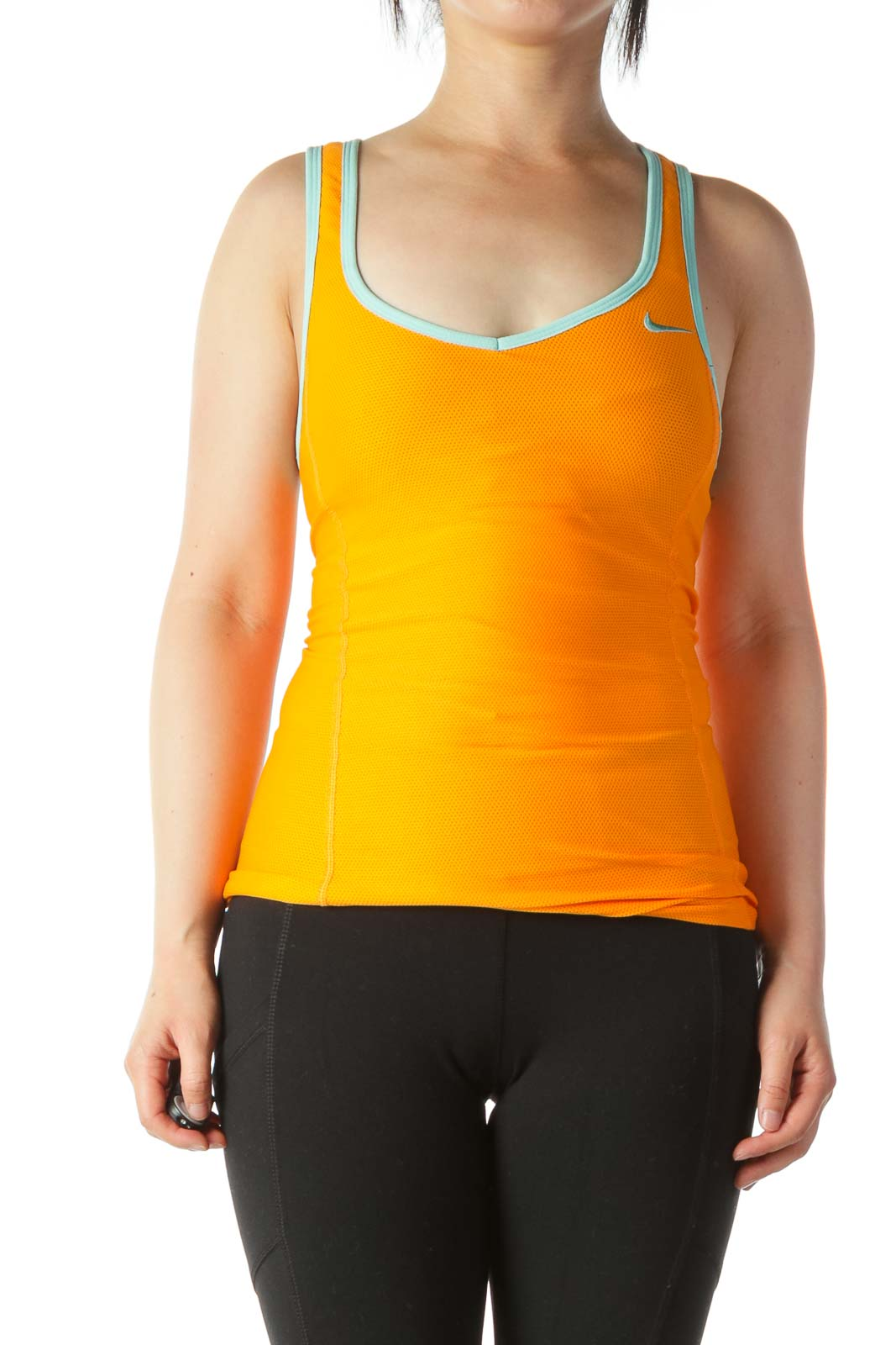 Orange Mint-Green-Trim Racerback Mesh-Body Sport Tank