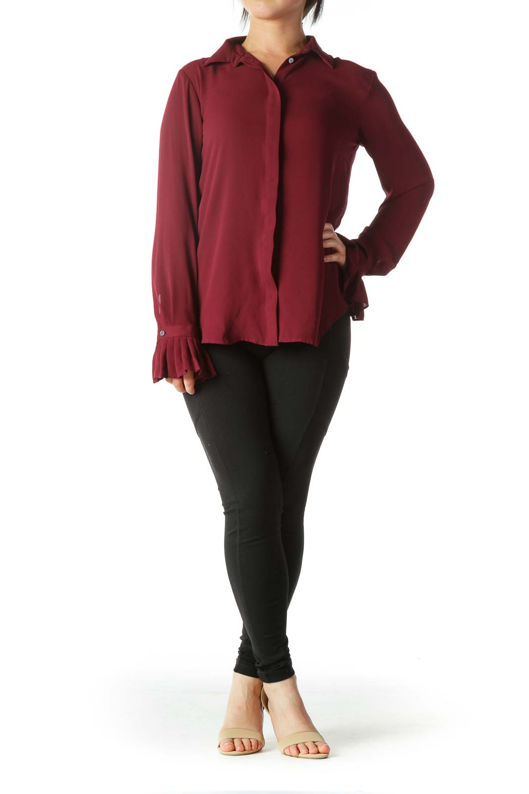 Burgundy Buttoned Flared-Sleeves Shirt