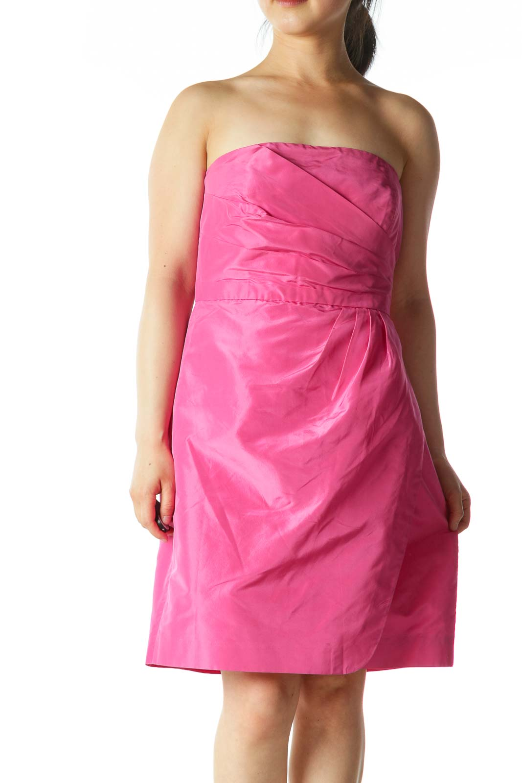 Pink Strapless Pleated Mini Inside-Structure Cocktail Dress