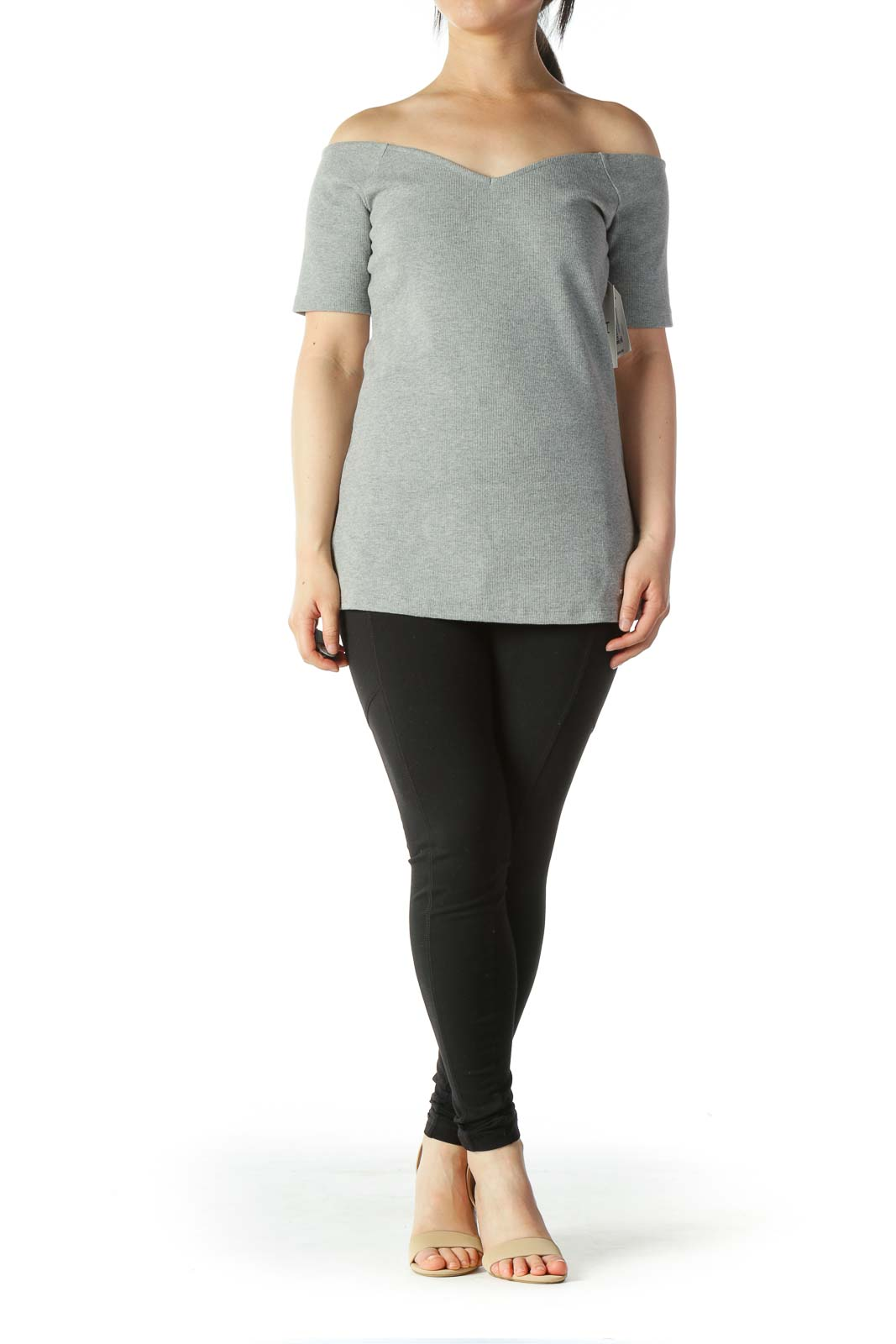 Gray V-Neck Cold Shoulders Stretch Top