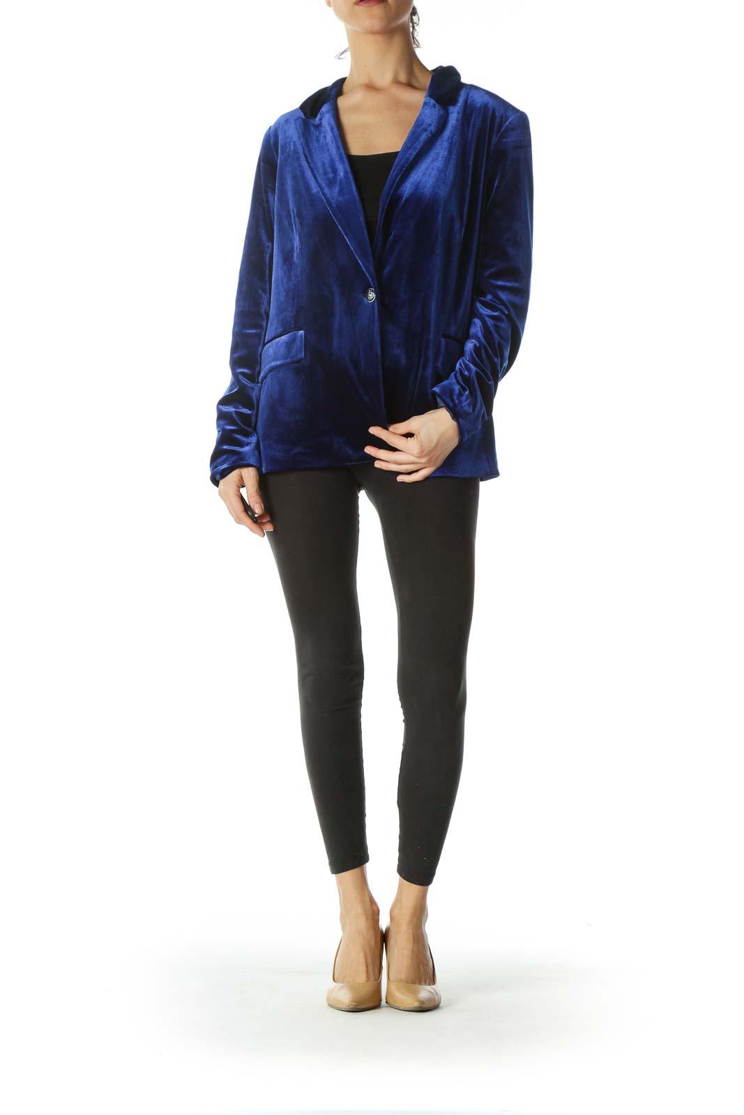 Royal Blue One-Button Velvet Blazer