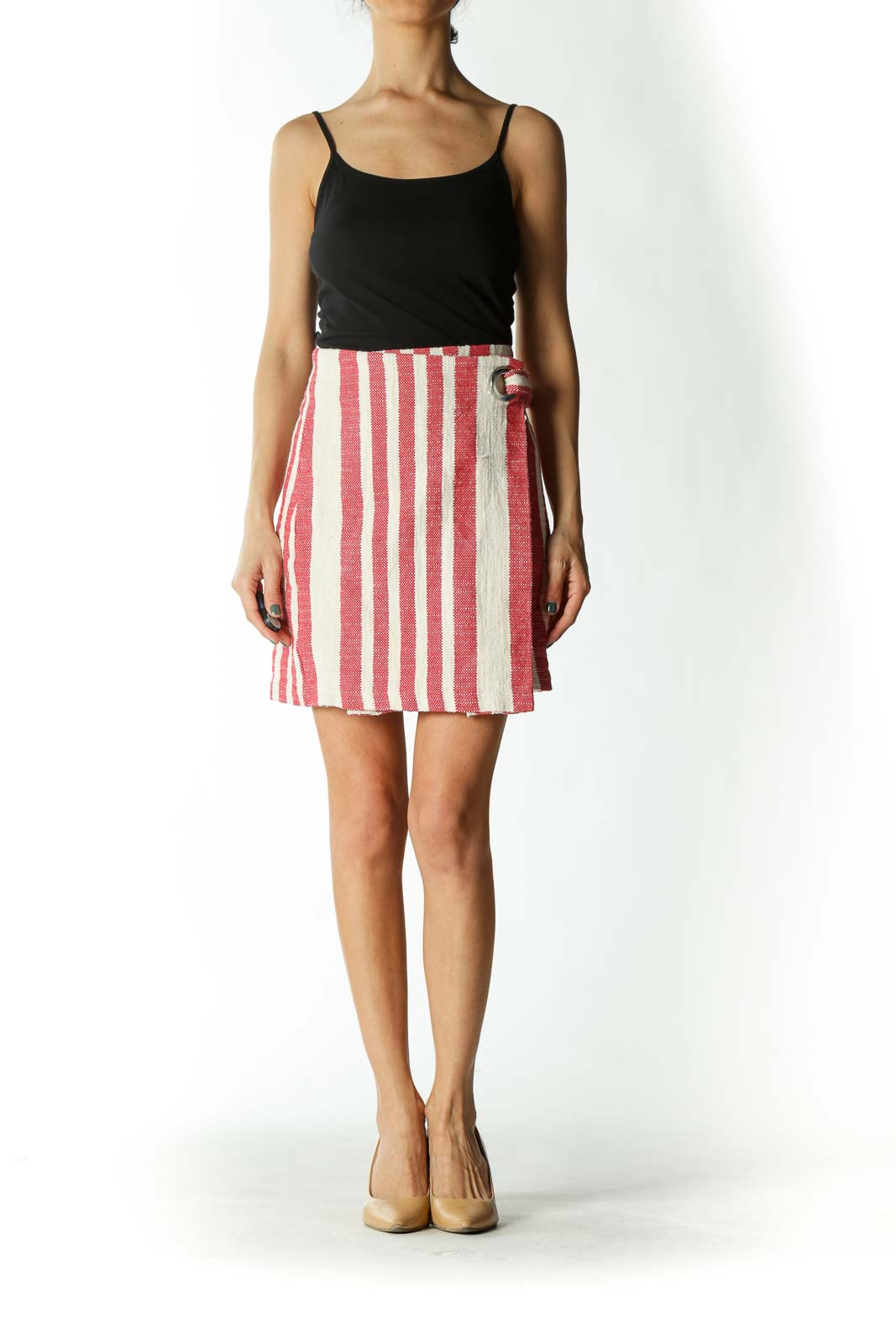 Pink and White Striped Wrap A-Line Skirt