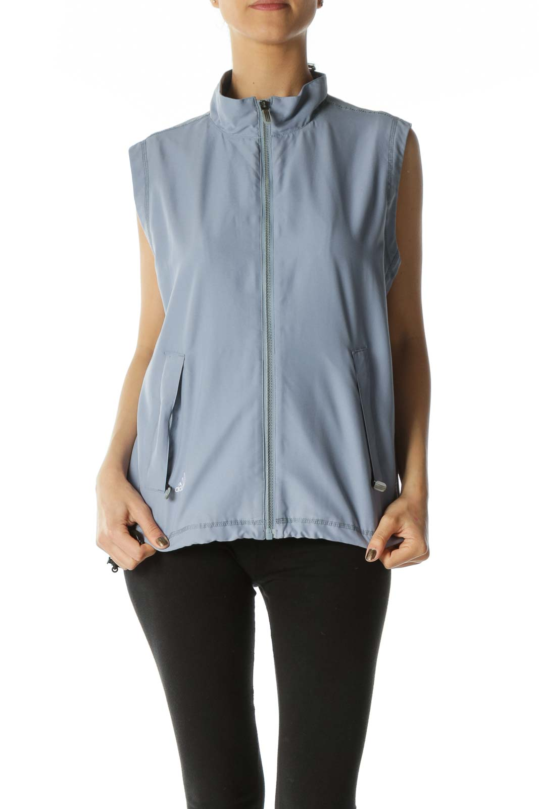Gray Zippered Pocketed Waist-Drawstring Sports Vest