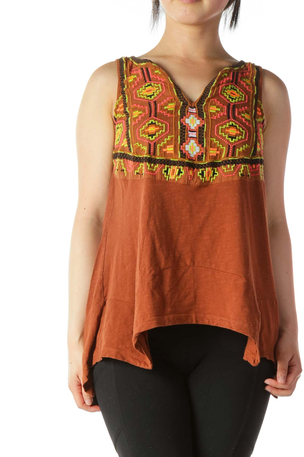 Multicolored 100% Cotton Embroidered-Accent Tank