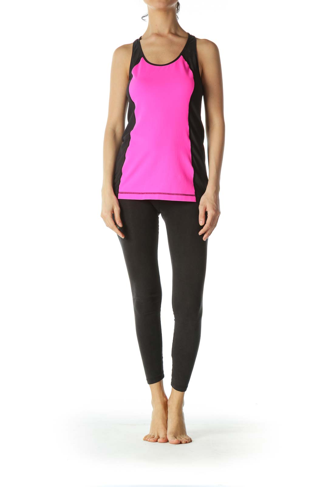 Fluorescent-Pink Black Racerback Mesh Sports Top