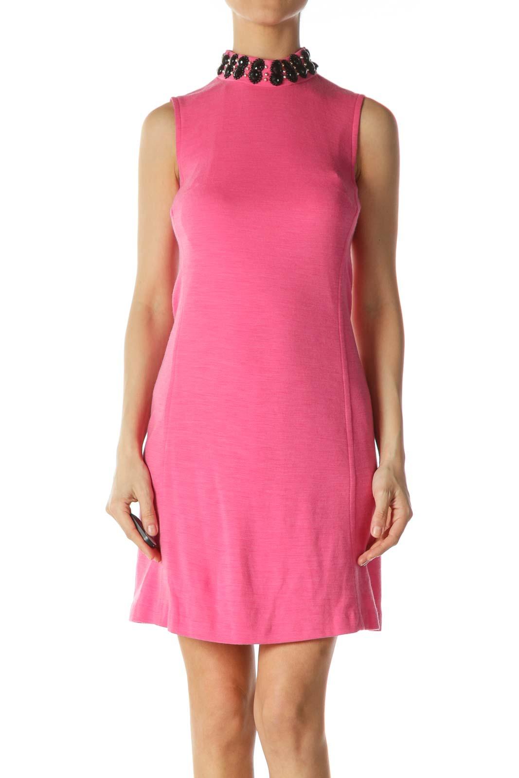 Pink High-Neckline Embellished Dress