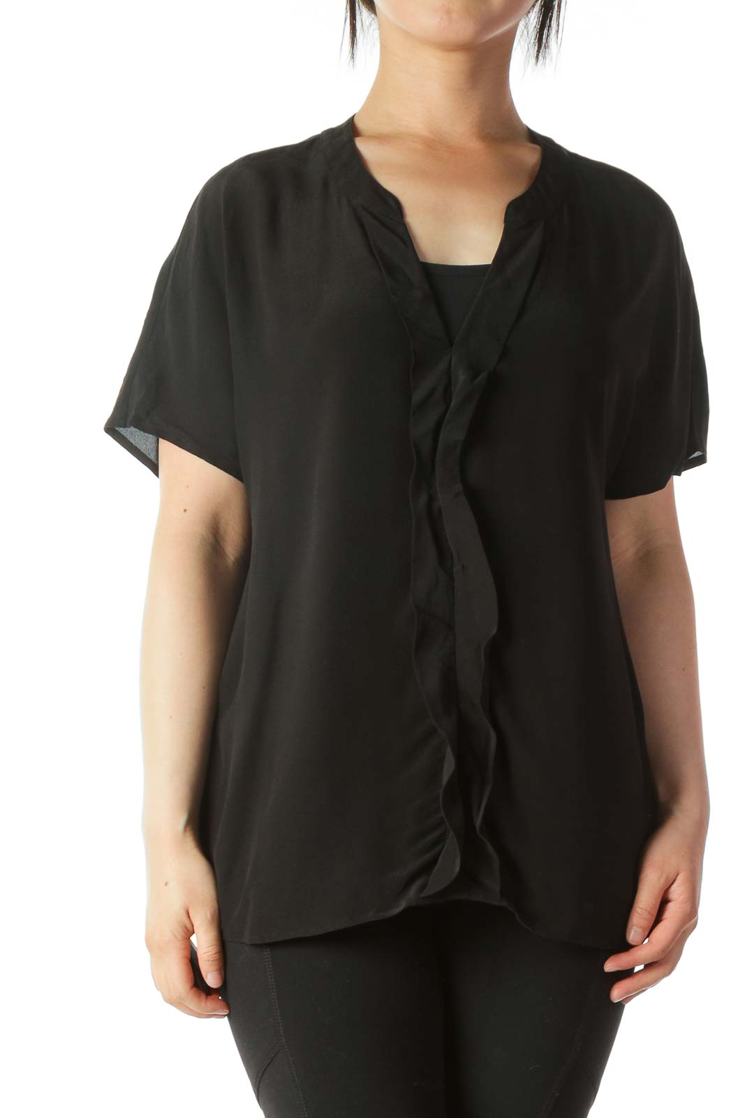 Black V-Neck Short-Sleeve Blouse