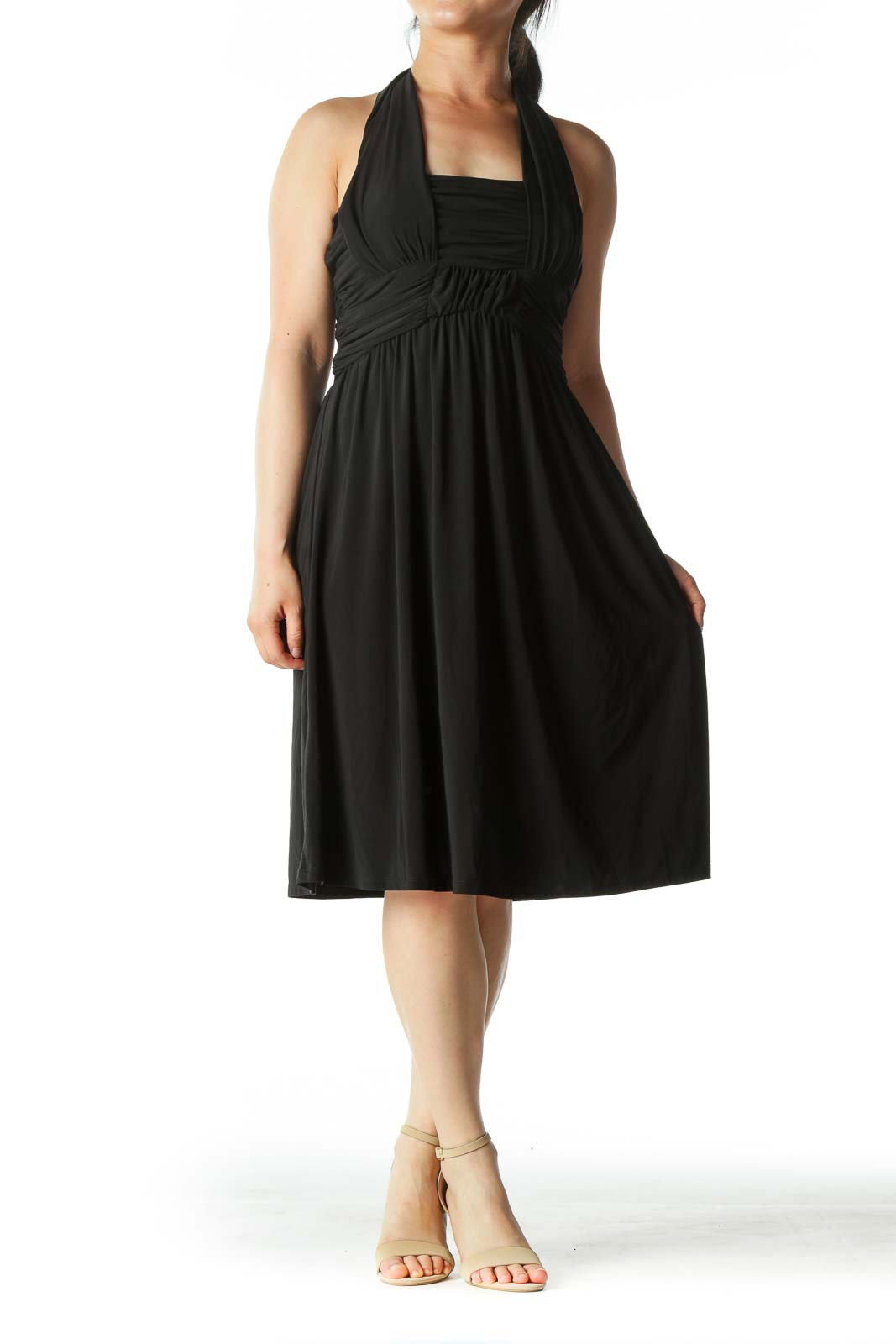 Black Stretch Scrunched Halter-Neck Cocktail Dress