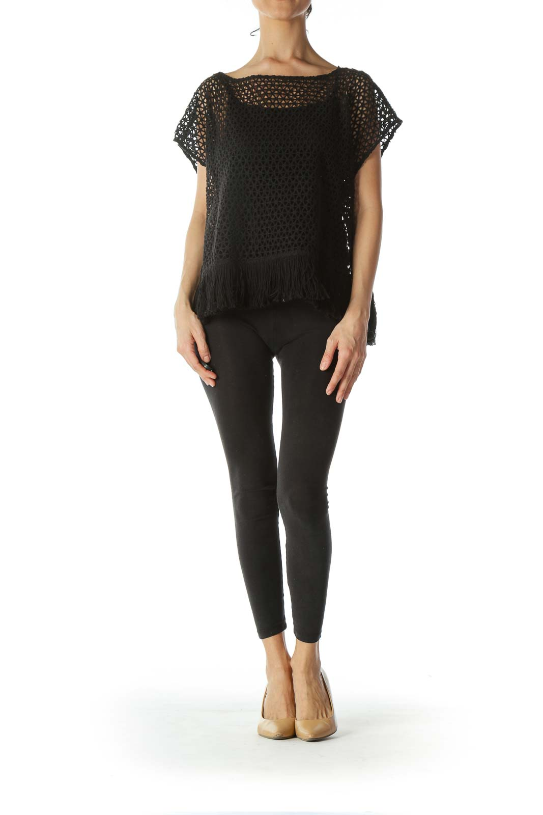 Black See-Through-Knit Waist-Fringe Top