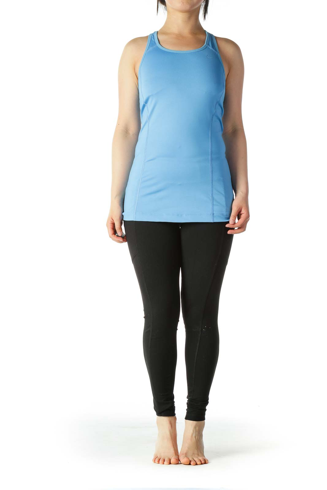 Light-Blue Racerback Activewear Top with Built-In Bra