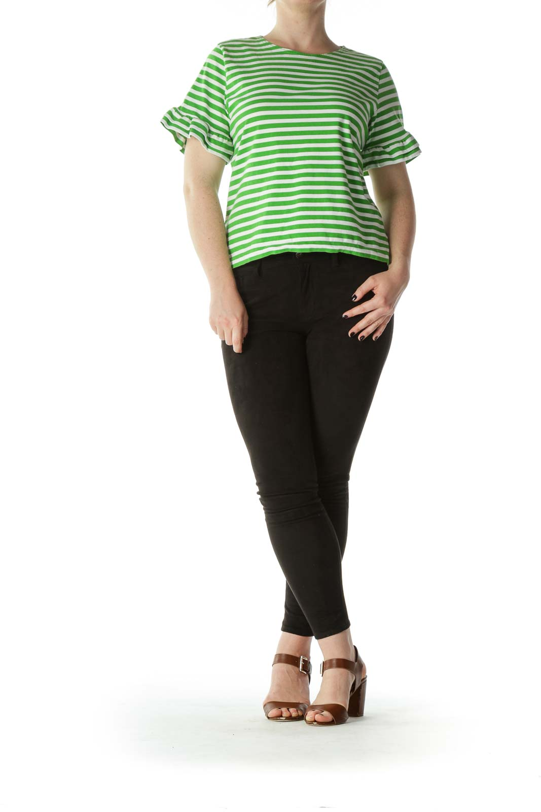 Green White 100% Cotton Striped Flared-Sleeves Top