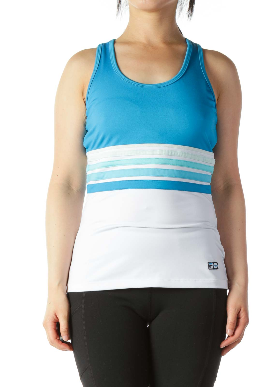 Light-Blue White Racerback Sports Tank with Build-In Bra