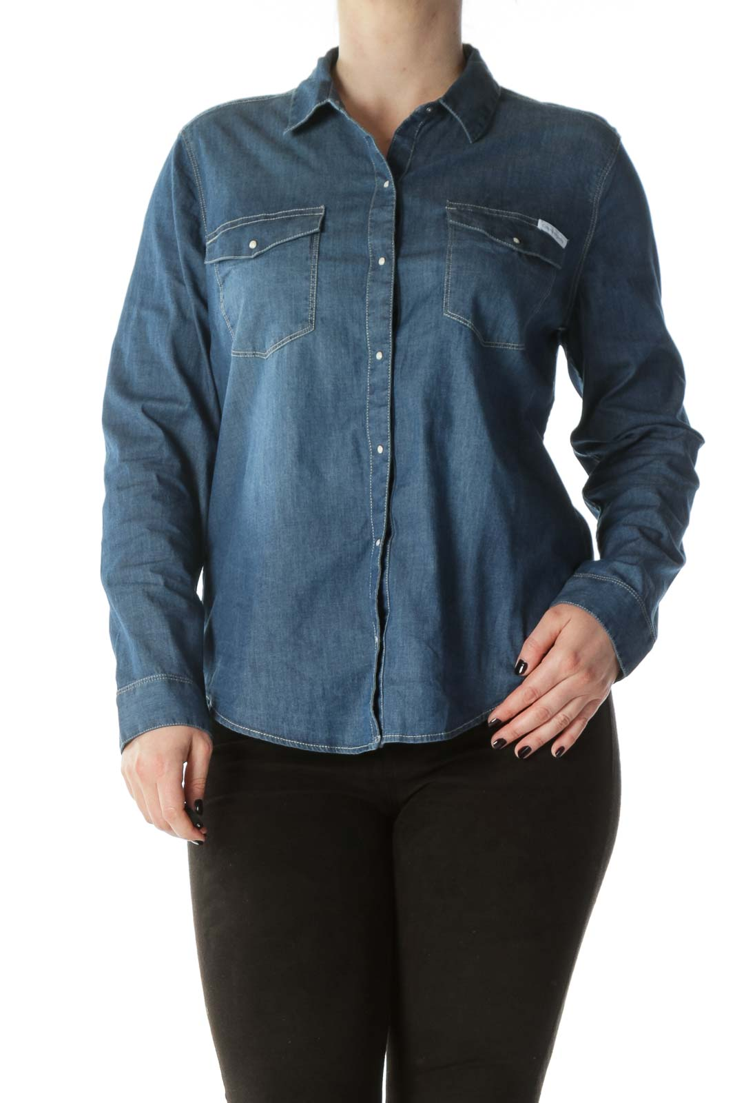 Blue Cotton Medium-Wash Snap-Buttoned Shirt