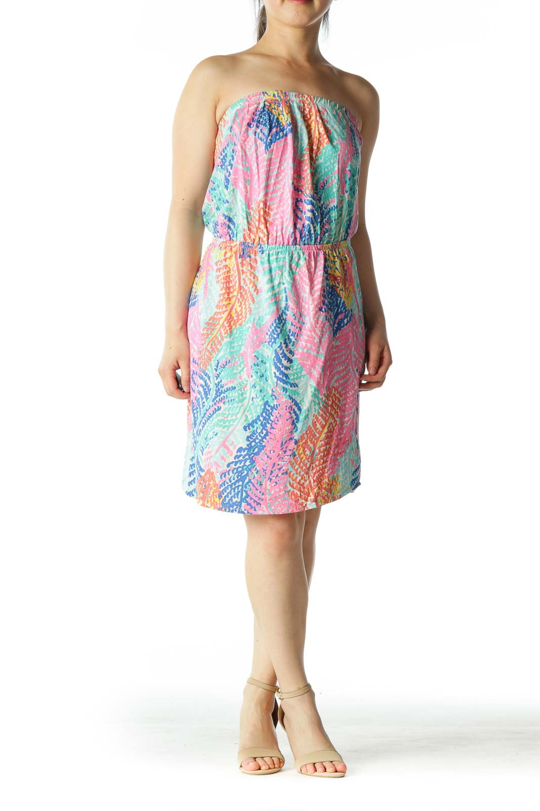 Multicolored 100% Pima Cotton Strapless Cinched-Waist Day Dress