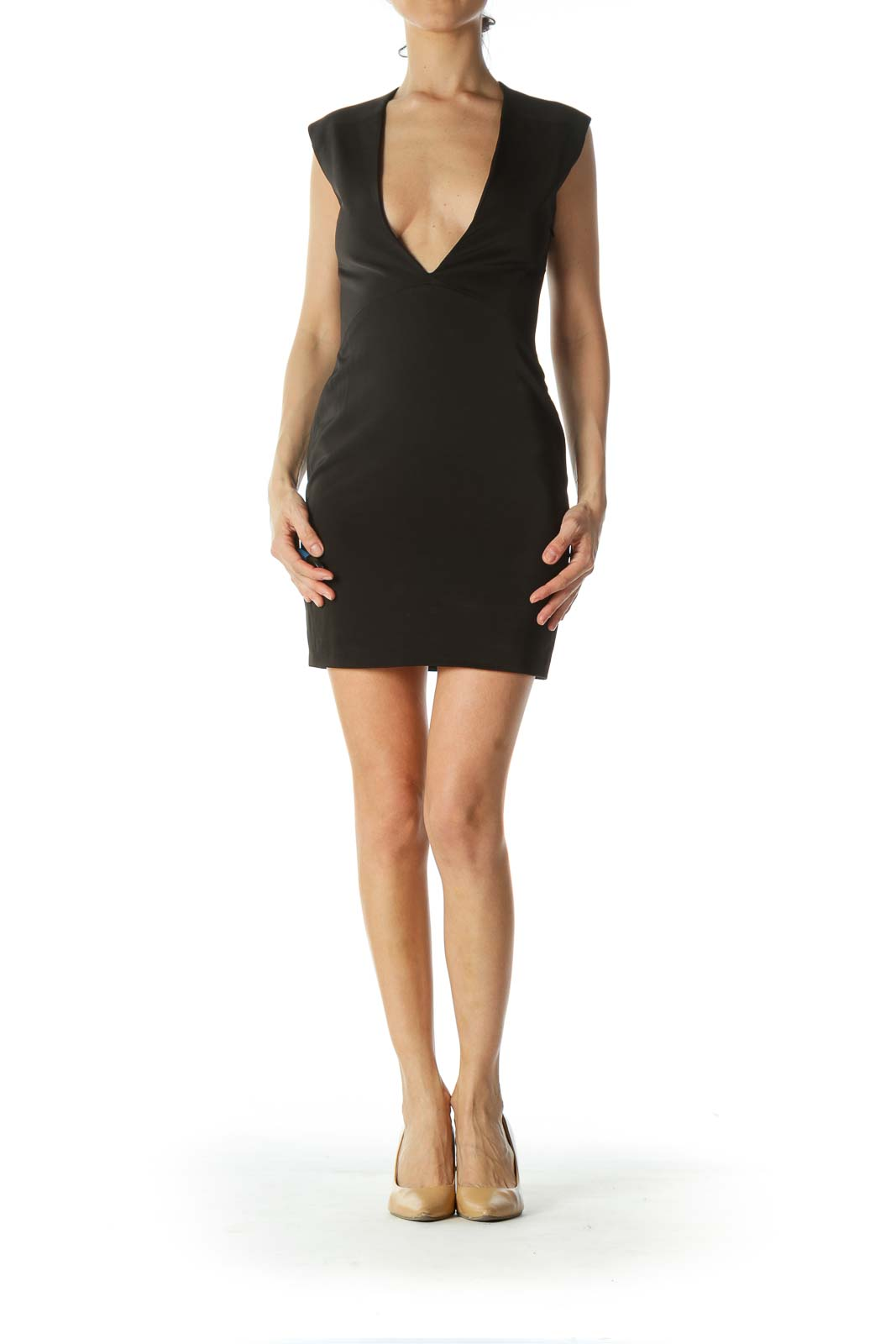 Black Deep-V-Neck Mini Cocktail Dress