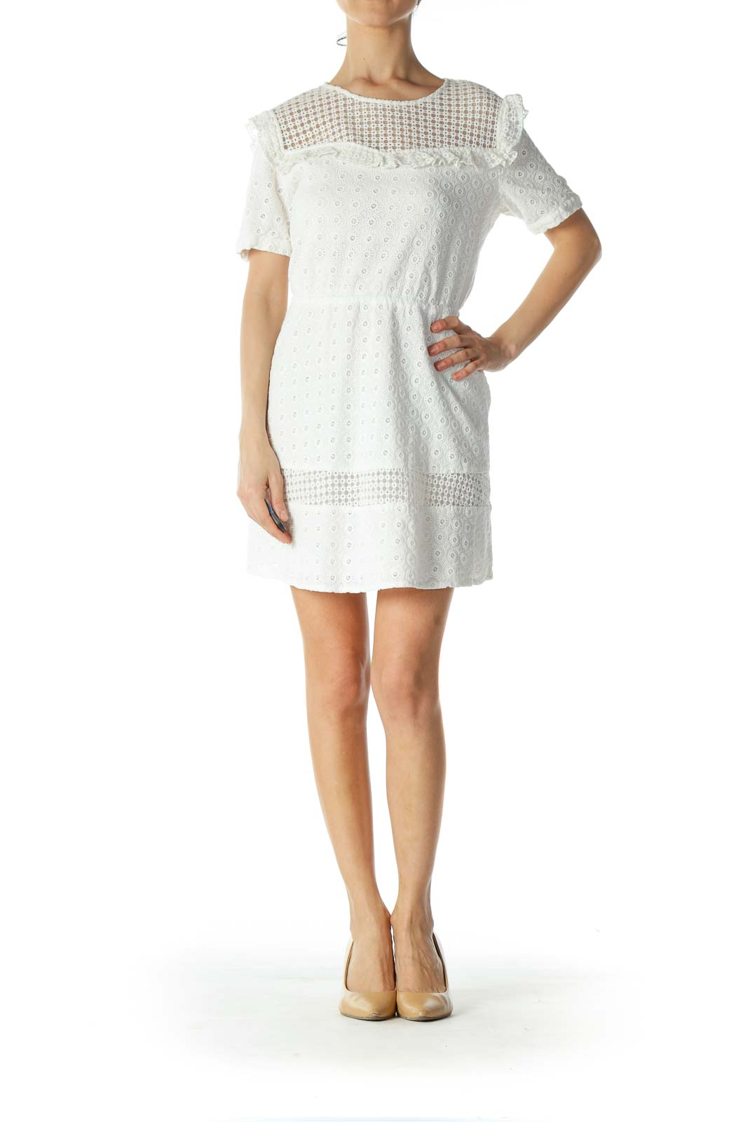 Off-White 100% Cotton Lace-Body Day Dress