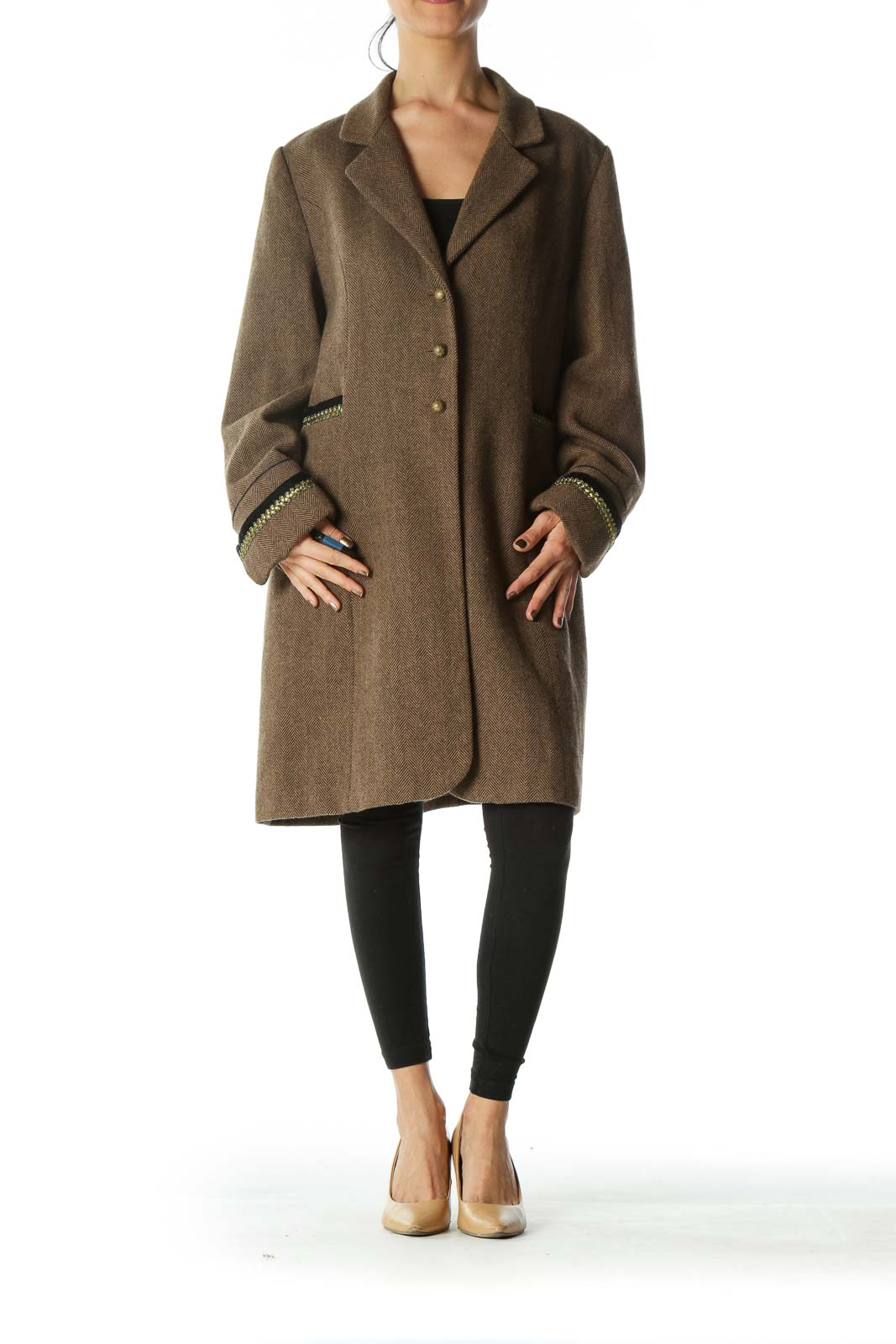 Brown Black Harringbone Metallic and Velvet Accents Coat