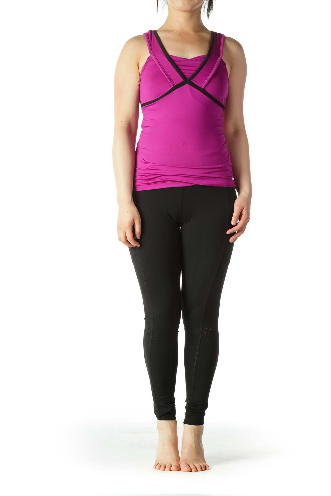 Purple Black Mesh-Trim Sports Top with Built-In Bra