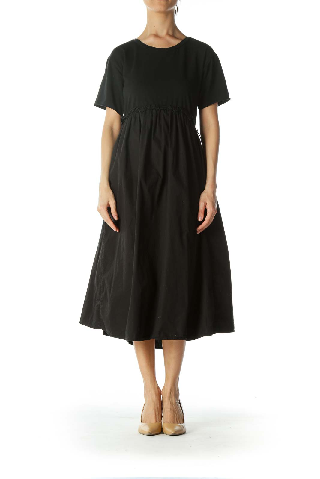 Black 100% Cotton Mixed-Media Elastic-Waist-Detail Dress