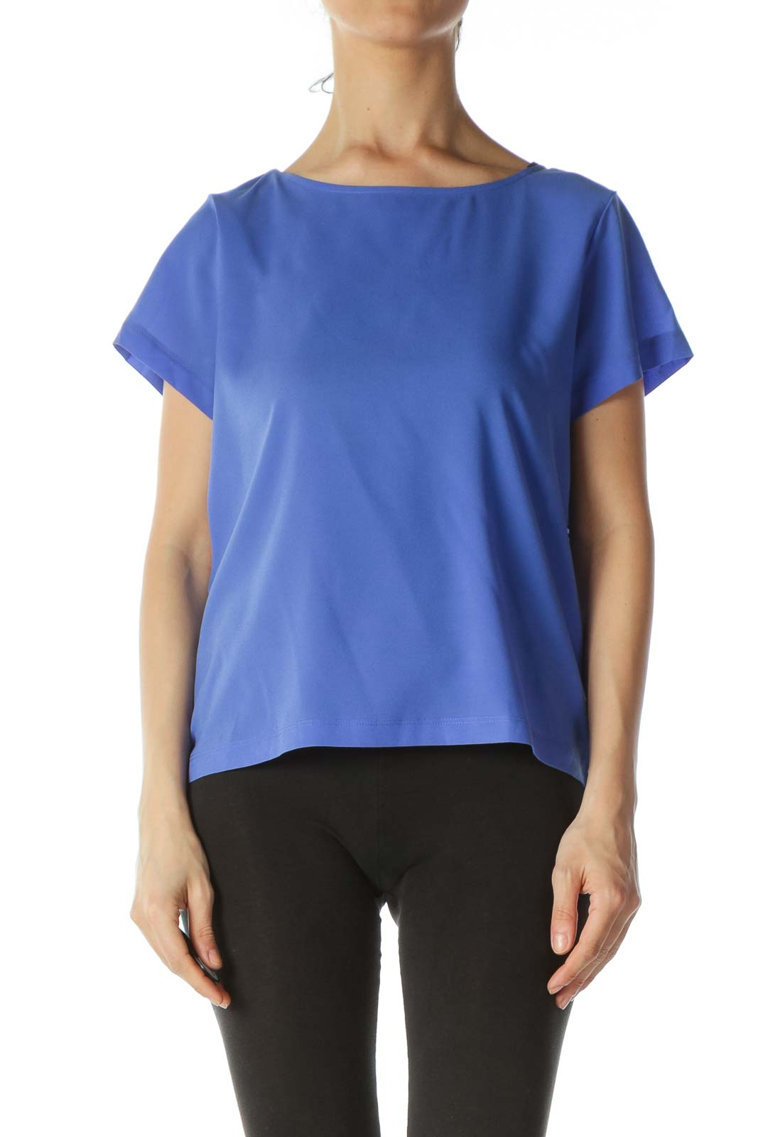 Blue Pleated--Trim-Accents Mixed-Media T-Shirt