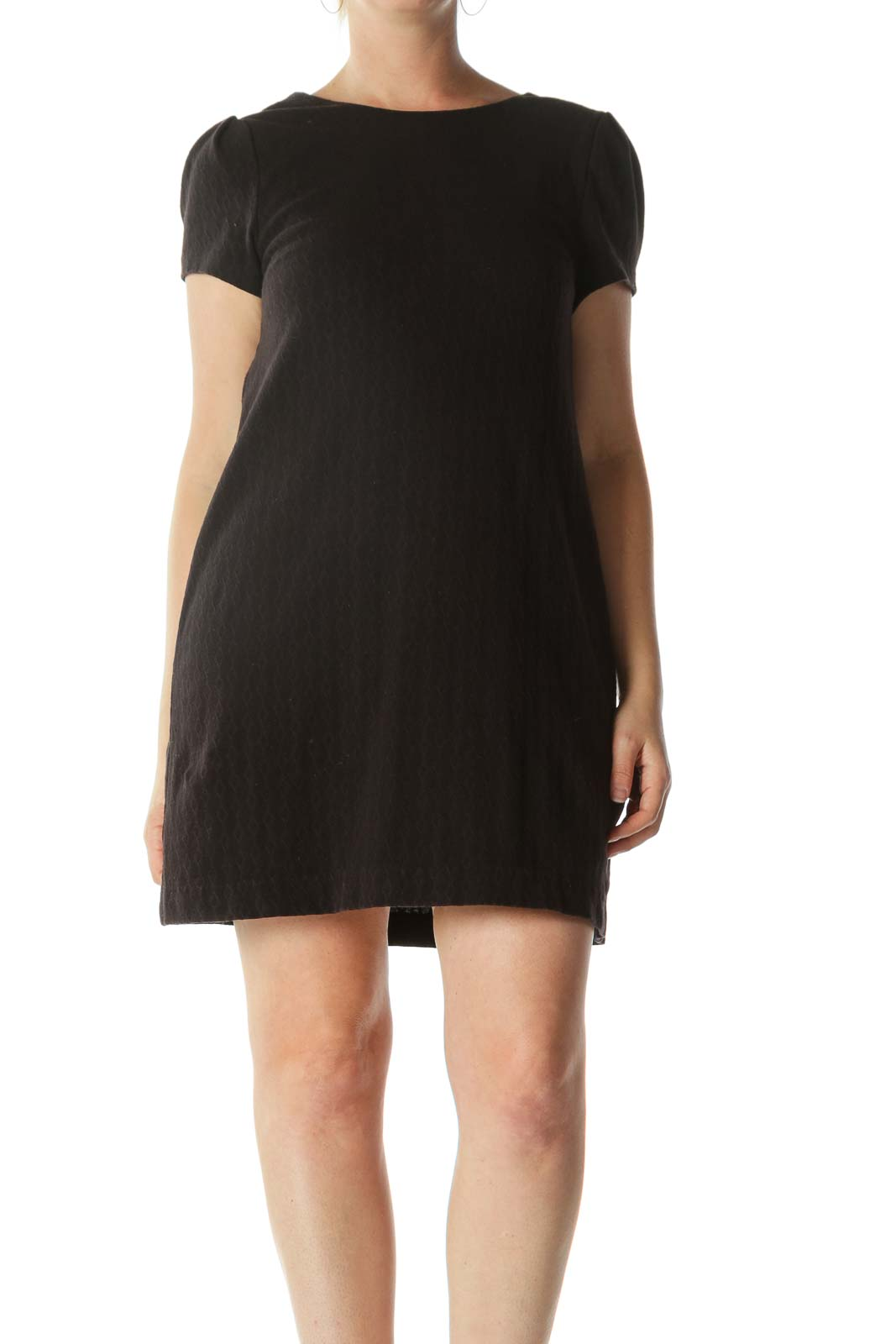Black Textured Short-Sleeve Knit Dress
