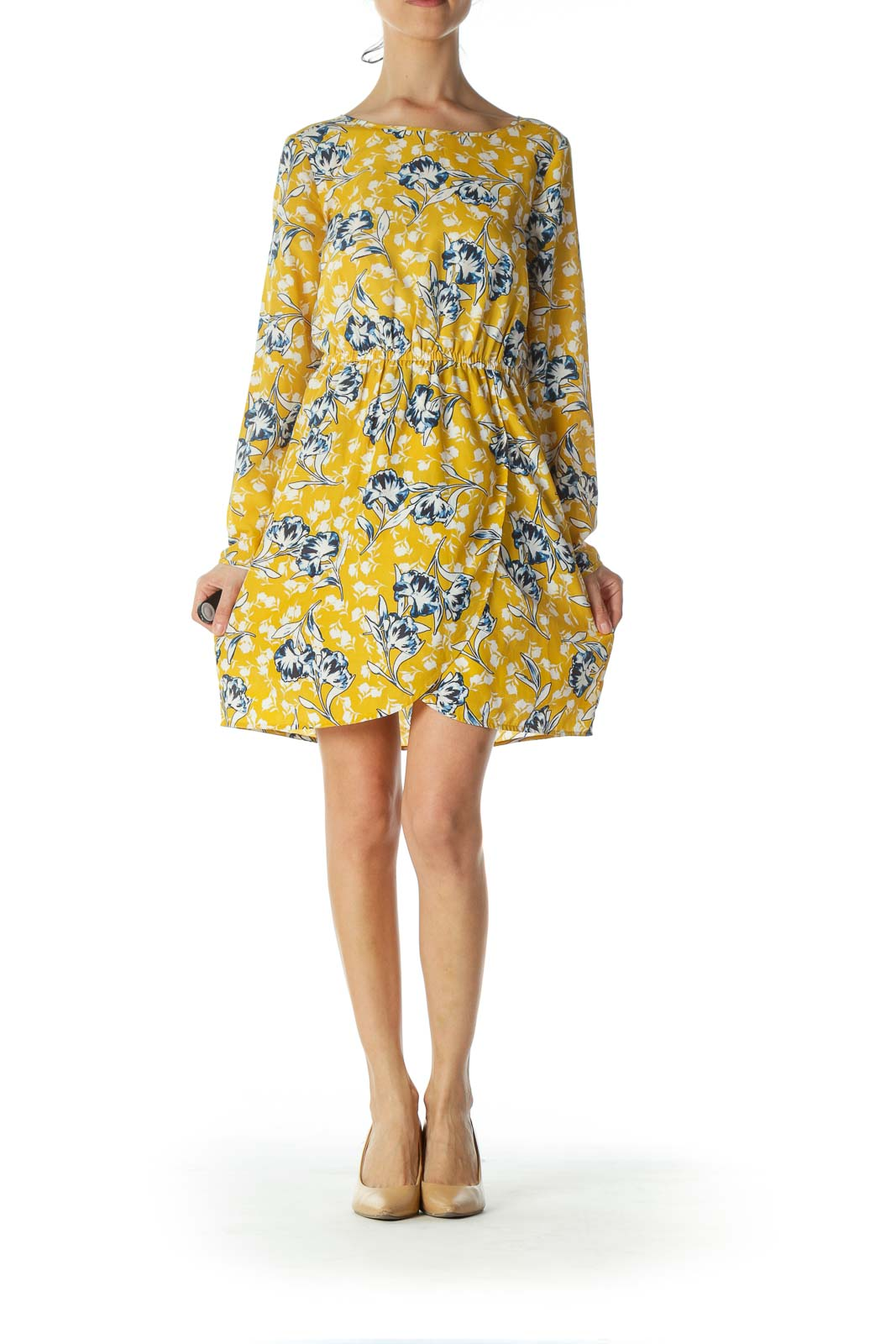 Yellow Floral Long-Sleeve Flared Day dress