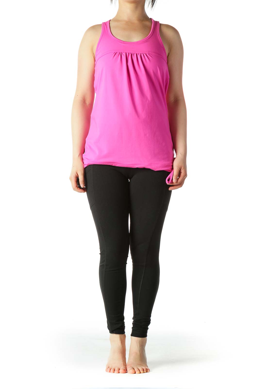Magenta-Pink Sports Top with Built-In Bra
