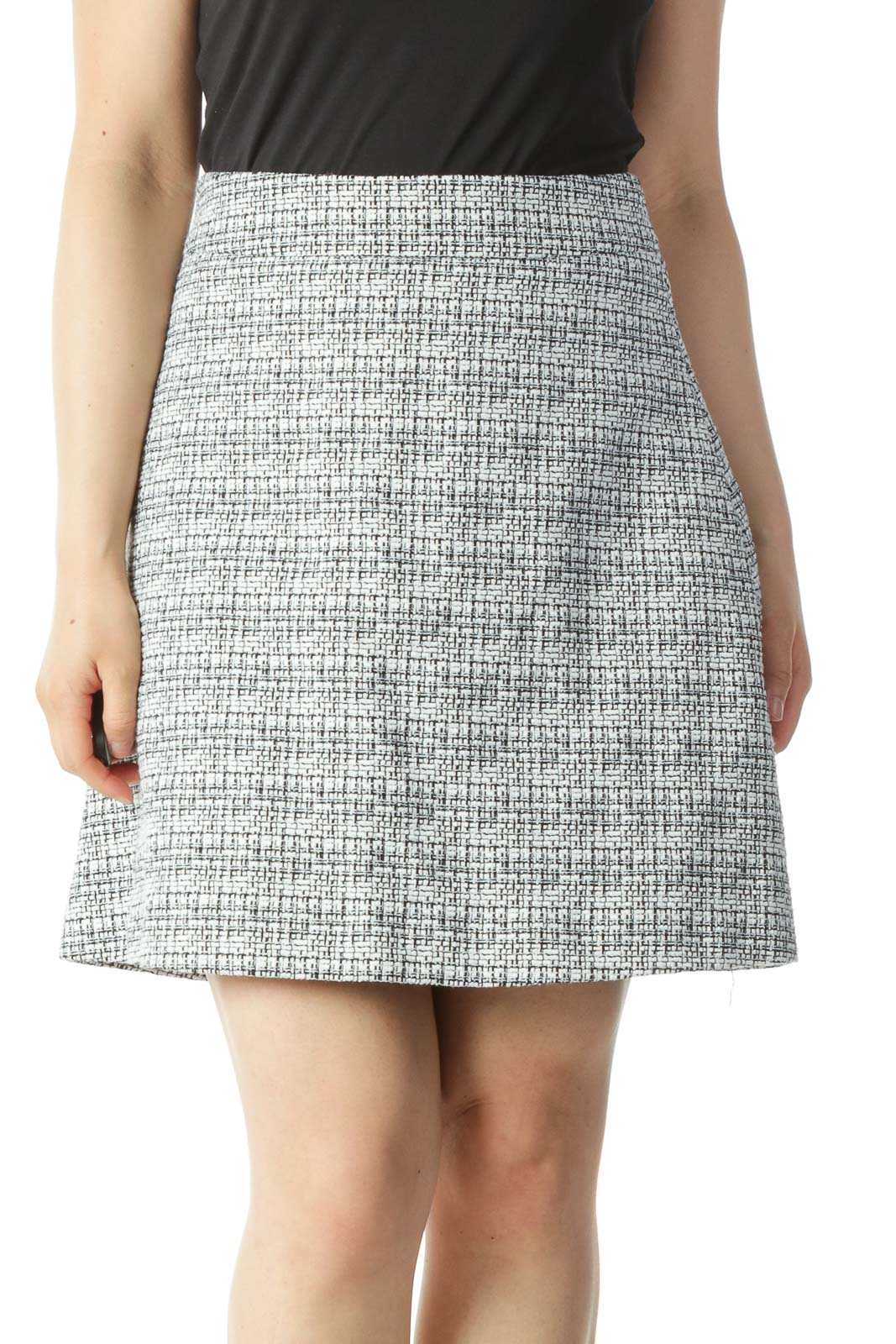 Black and White Textured A-Line Skirt