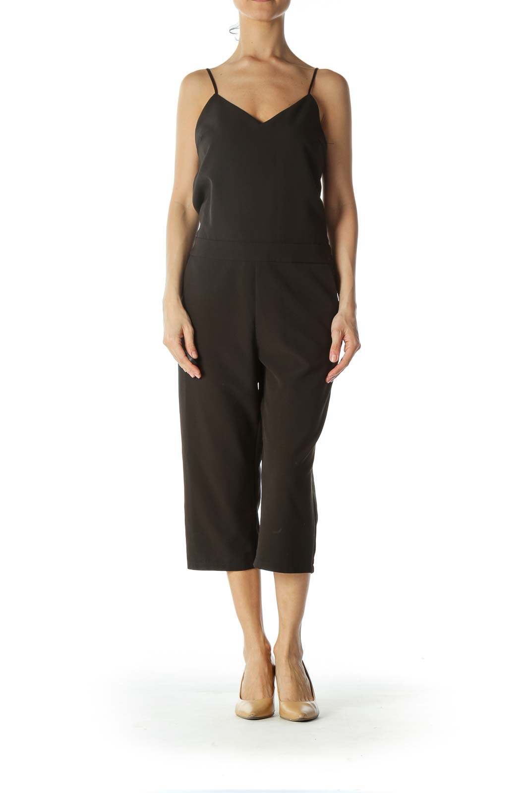 Black Spaghetti-Strap Pocketed Jumpsuit