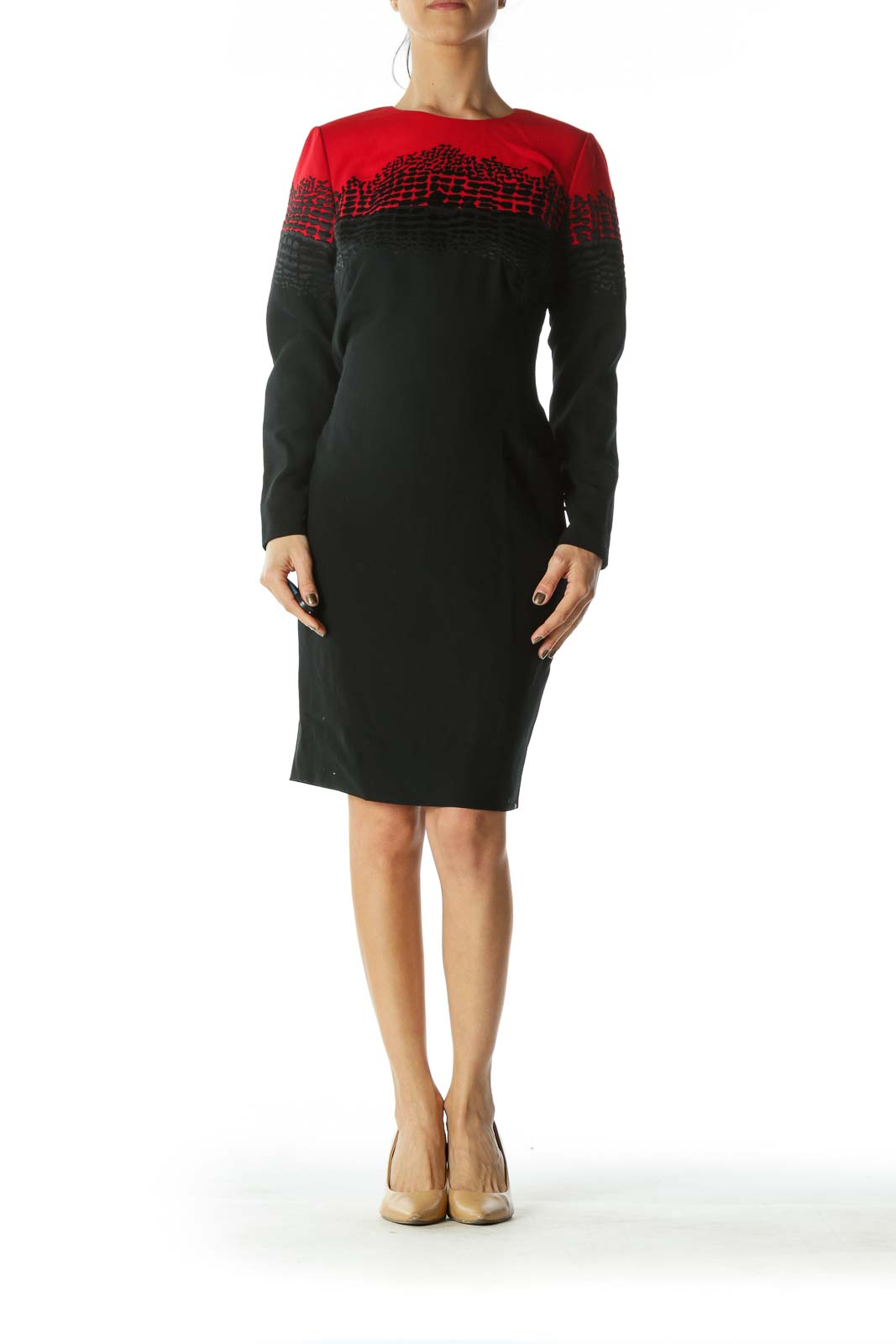 Red Black Long-Sleeve Textured Work Dress