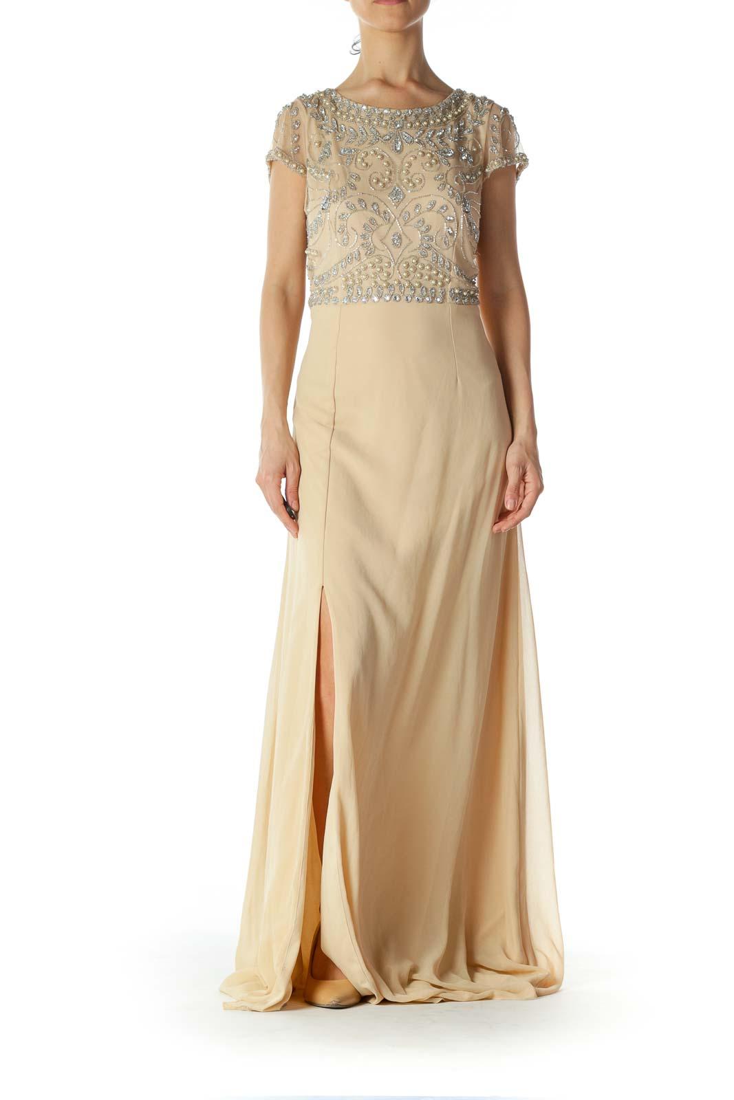 Beige Embellished-Upper Lace Evening Dress