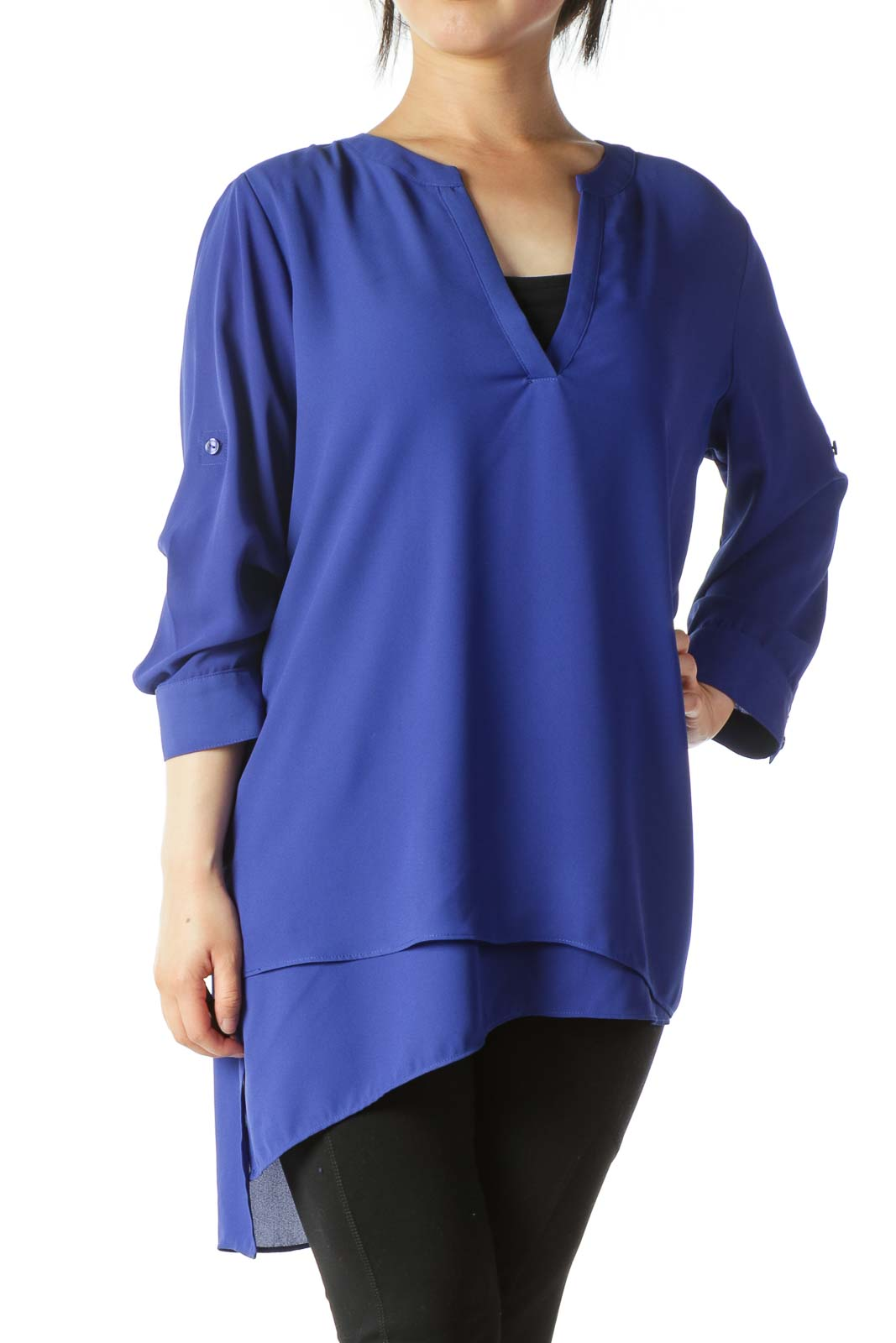 Royal Blue V-Neck 3/4-Sleeve Long Blouse