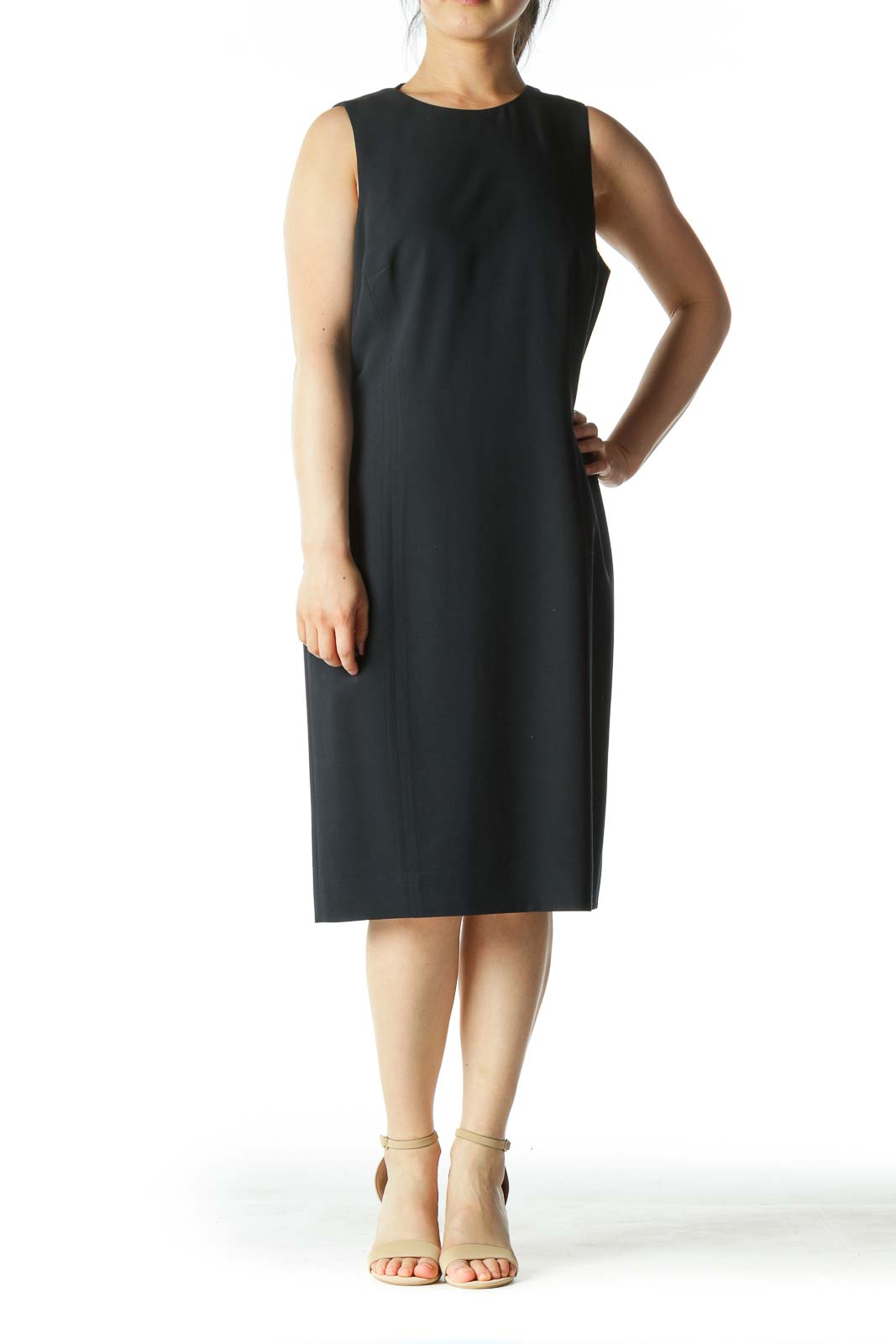 Navy-Blue Round-Neck Sleeveless Work Dress