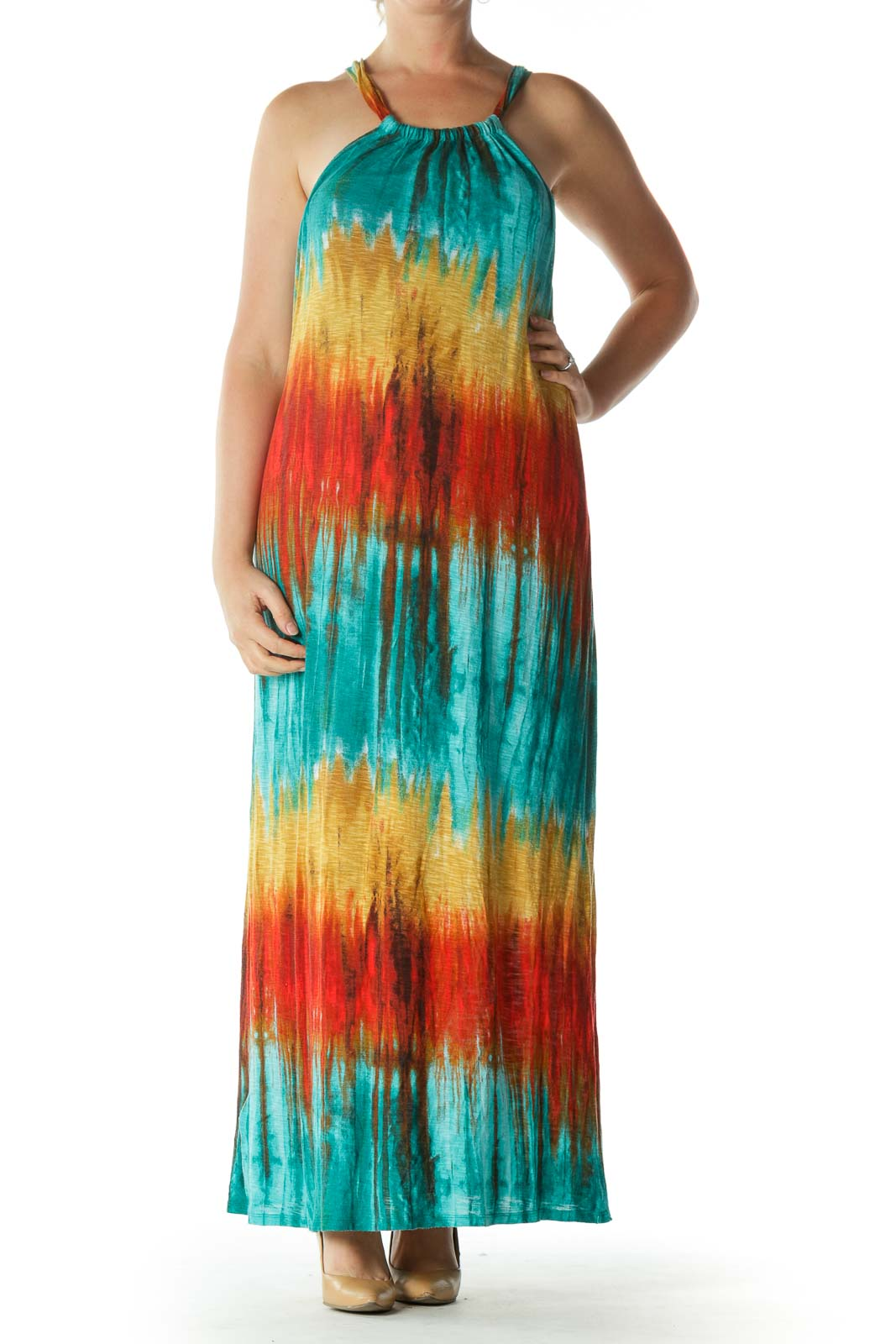 Multicolored Halter-Neckline Maxi Dress