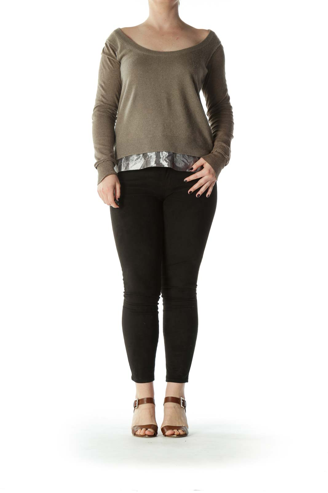 Beige Silver-Trim Cashmere and Cotton Knit Top