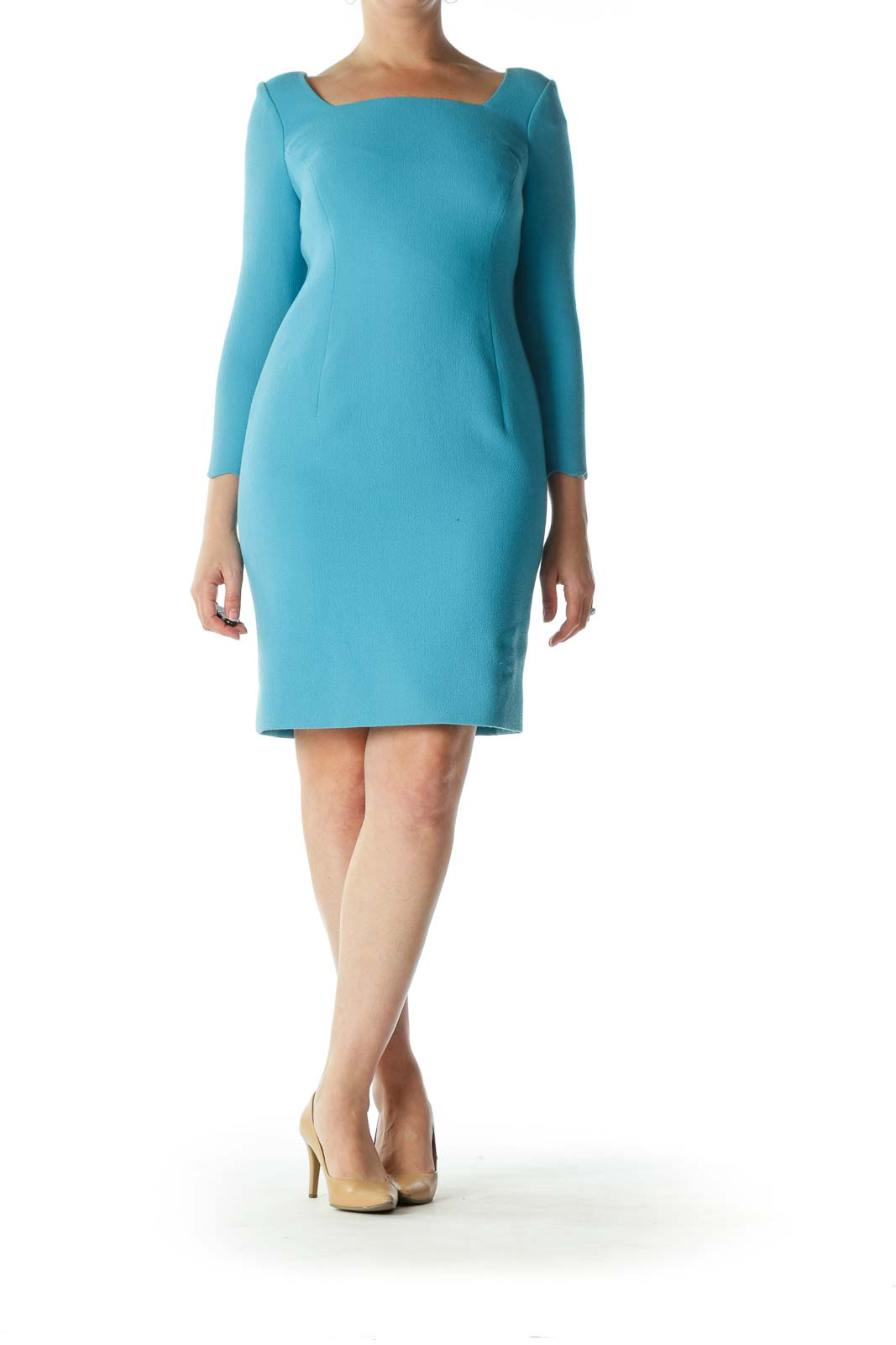 Blue Square-Neck Long-Sleeve Sleeve-Shapes Dress