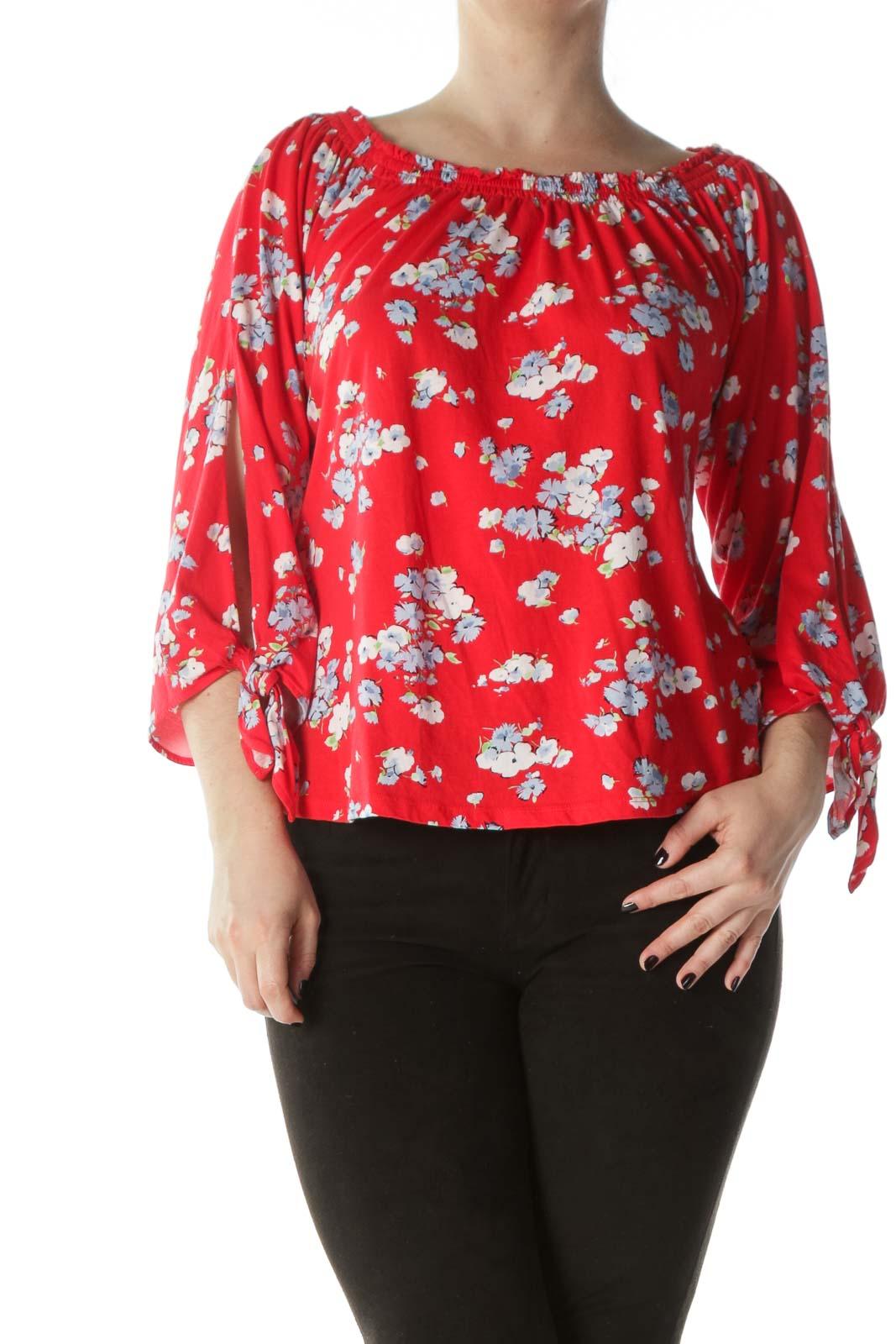 Multicolored 100% Cotton Floral Print Cold-Shoulder Top